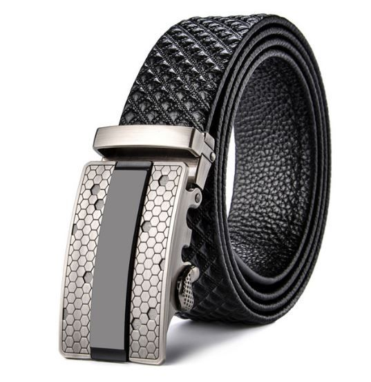 Belt Men's Black Cowskin Leather Mens Business Belts Embossed Silver Auto-Buckle Zabardo