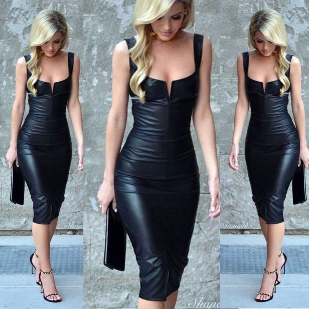 Celebrity Women s Midi Cocktail Dress Bodycon Dress in Faux Leather ...